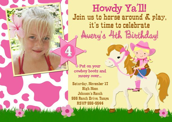 howdy free printable horse birthday party invitations