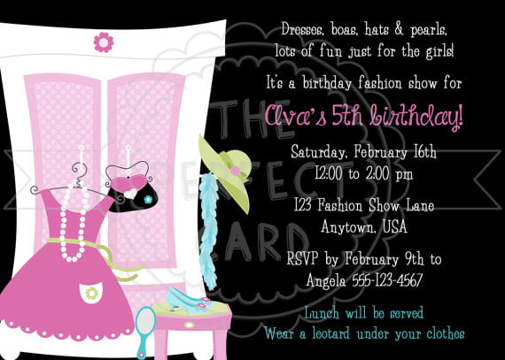 Fashion Dressed Up Birthday Party Invitations