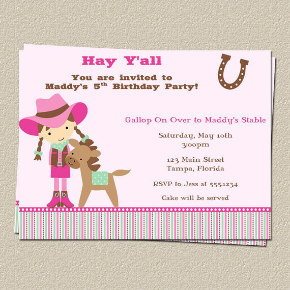 girl free printable horse birthday party invitations