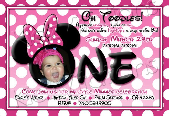 Minnie Mouse First Birthday Invitations Ideas FREE Invitation