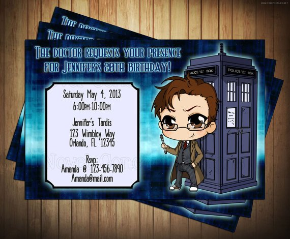 cards doctor who birthday party invitations