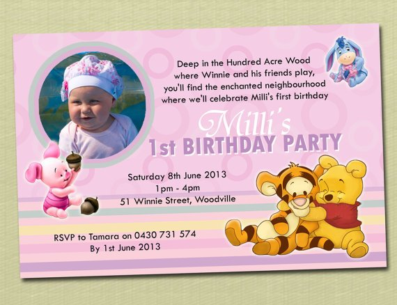 tiger winnie the pooh photo birthday invitations