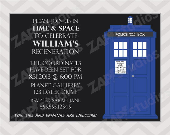 black doctor who birthday party invitations card