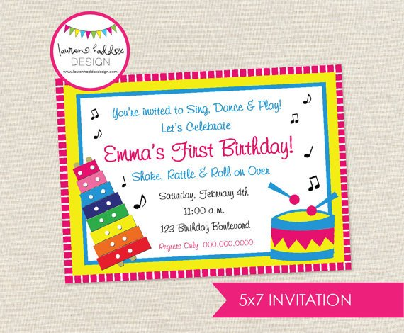 drum music themed birthday party invitations
