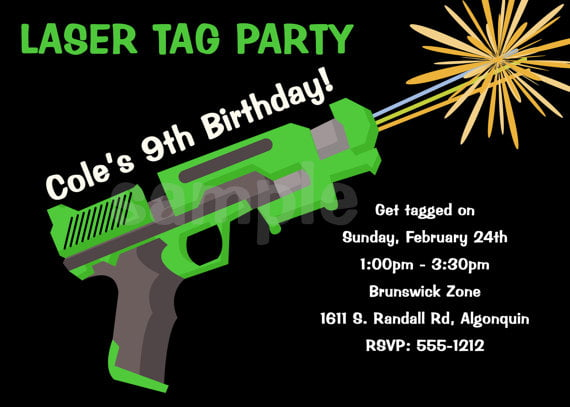 laser gun laser tag birthday invitations free