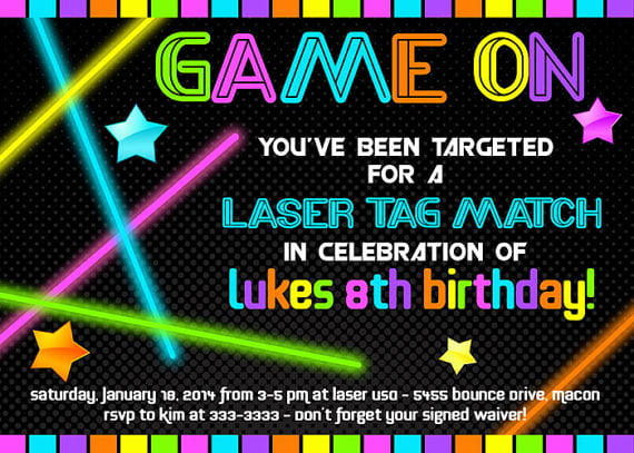 neon laser tag birthday invitations free