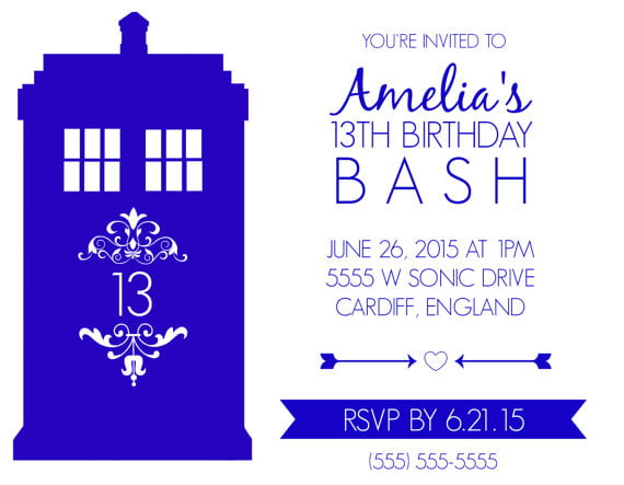 white card doctor who birthday party invitations