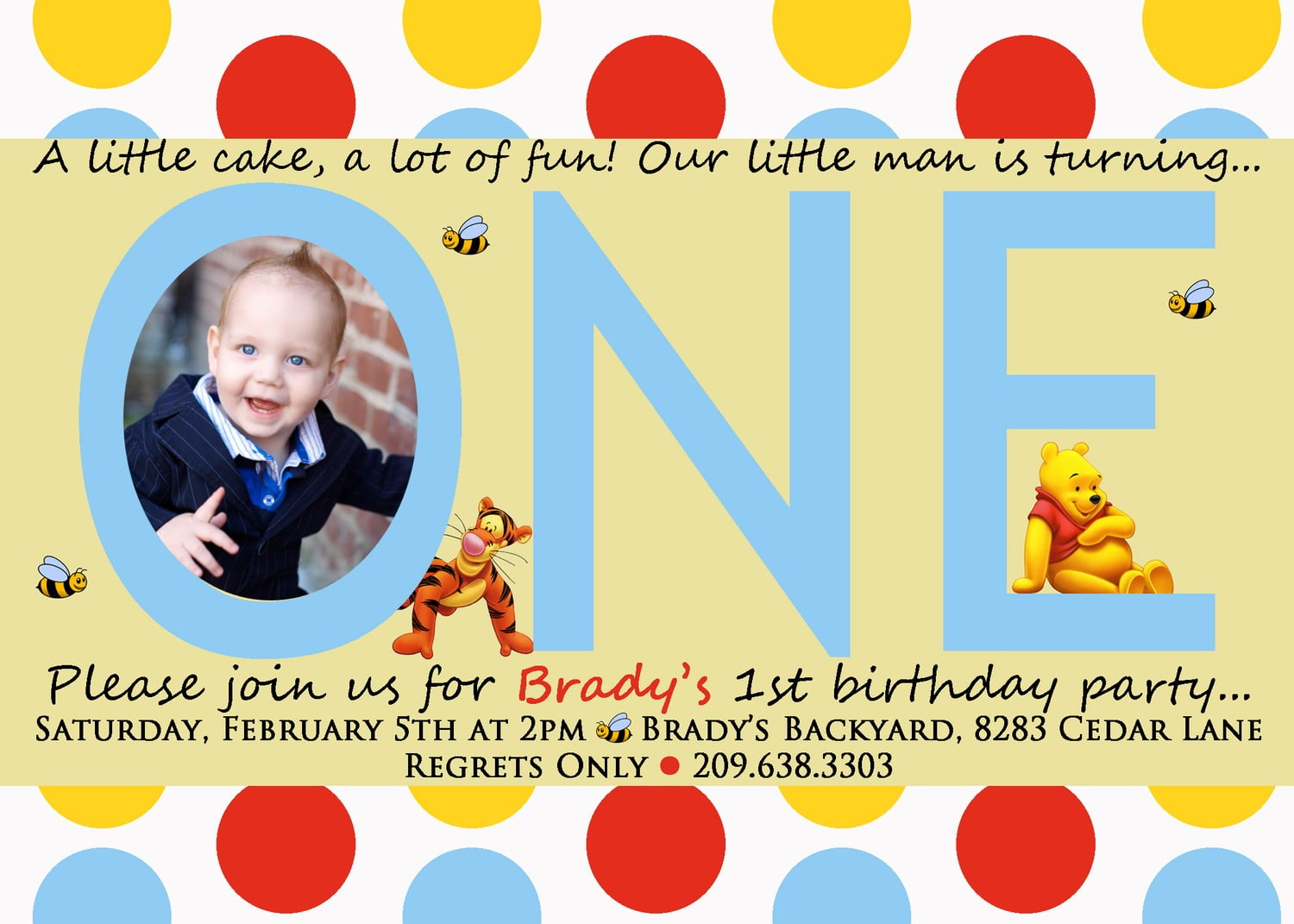 baby winnie the pooh photo birthday invitations