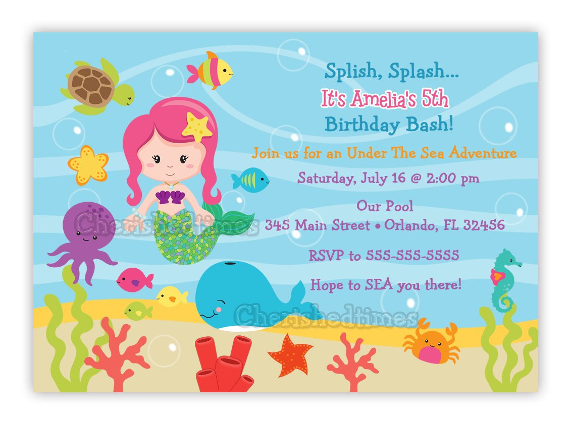 Under the Sea Birthday Invitations Wording | Drevio Invitations Design