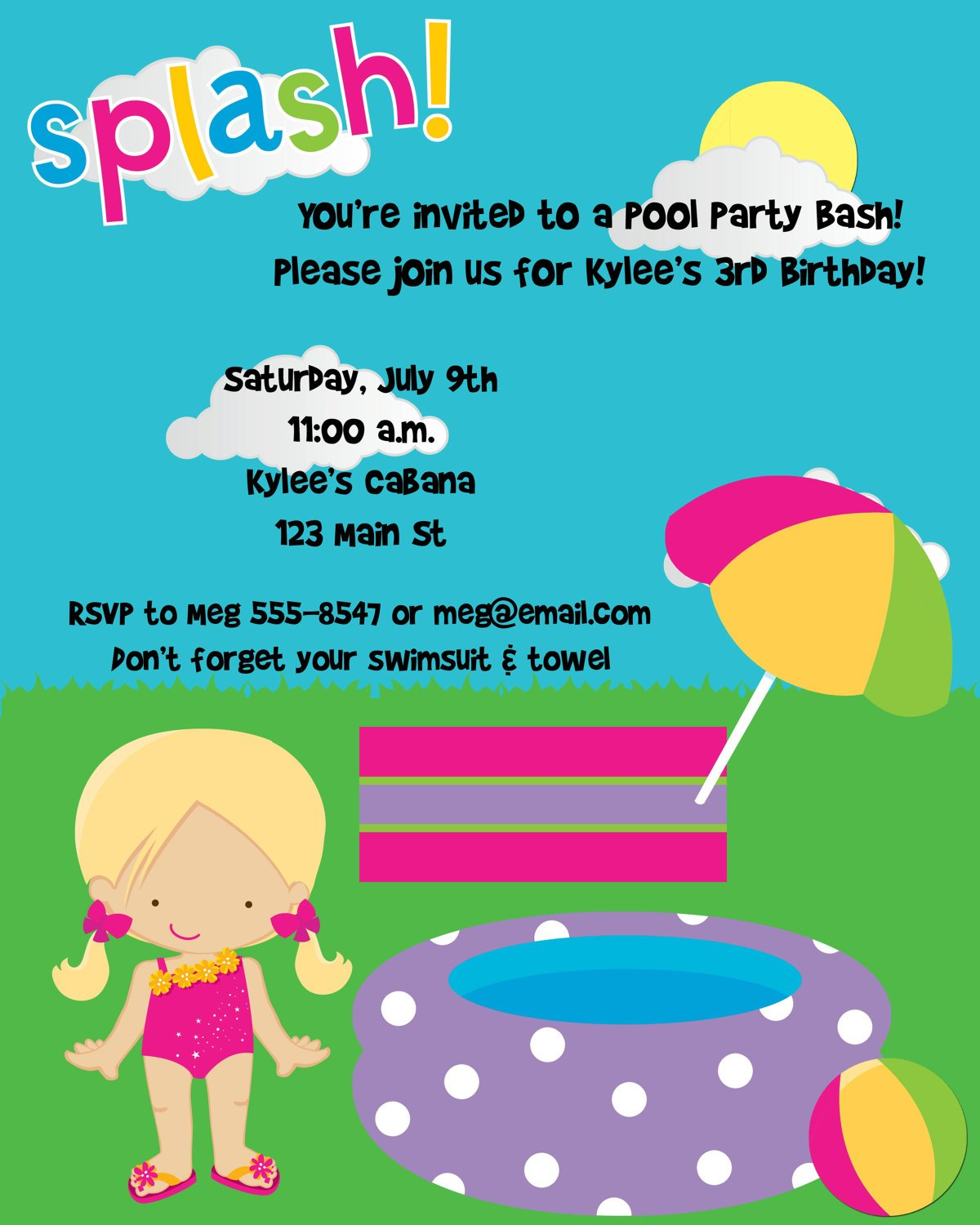 First Birthday Pool Party Invitations – Birthday Pool Party Invitation