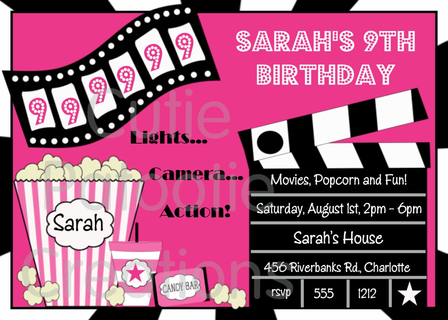 FREE Printable Movie Night Birthday Party Invitations Drevio - Birthday invitation email templates free