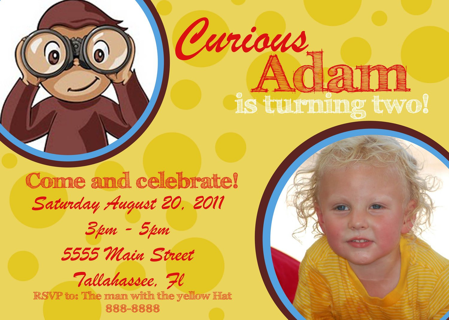 FREE Printable Curious George Personalized Invitations Template