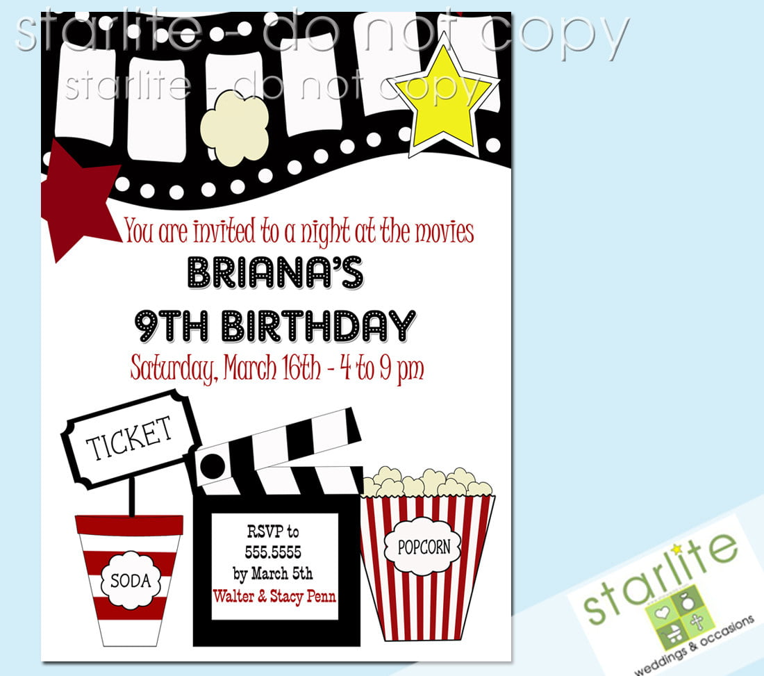 film kids birthday party invitations templates free printable