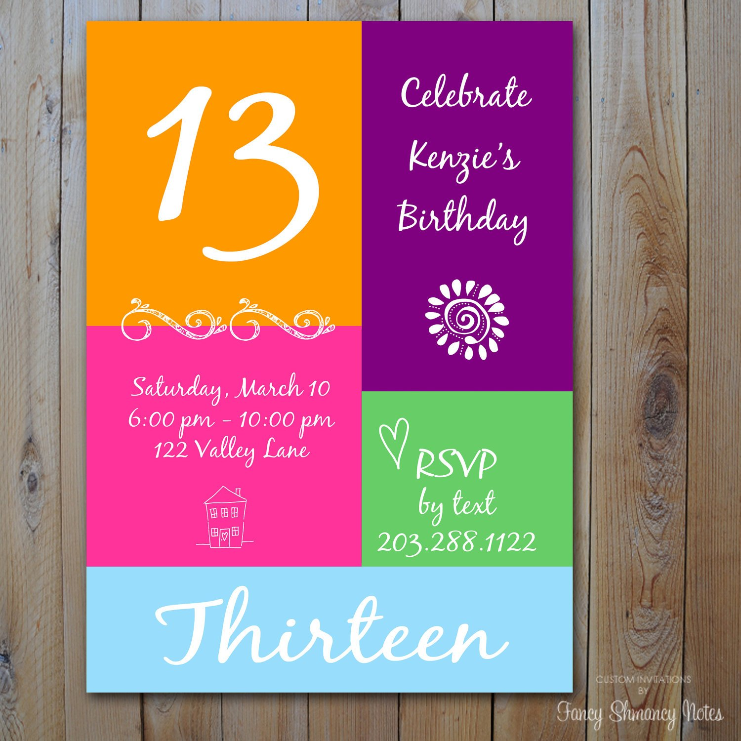 colorful 13 years old birthday party invitations