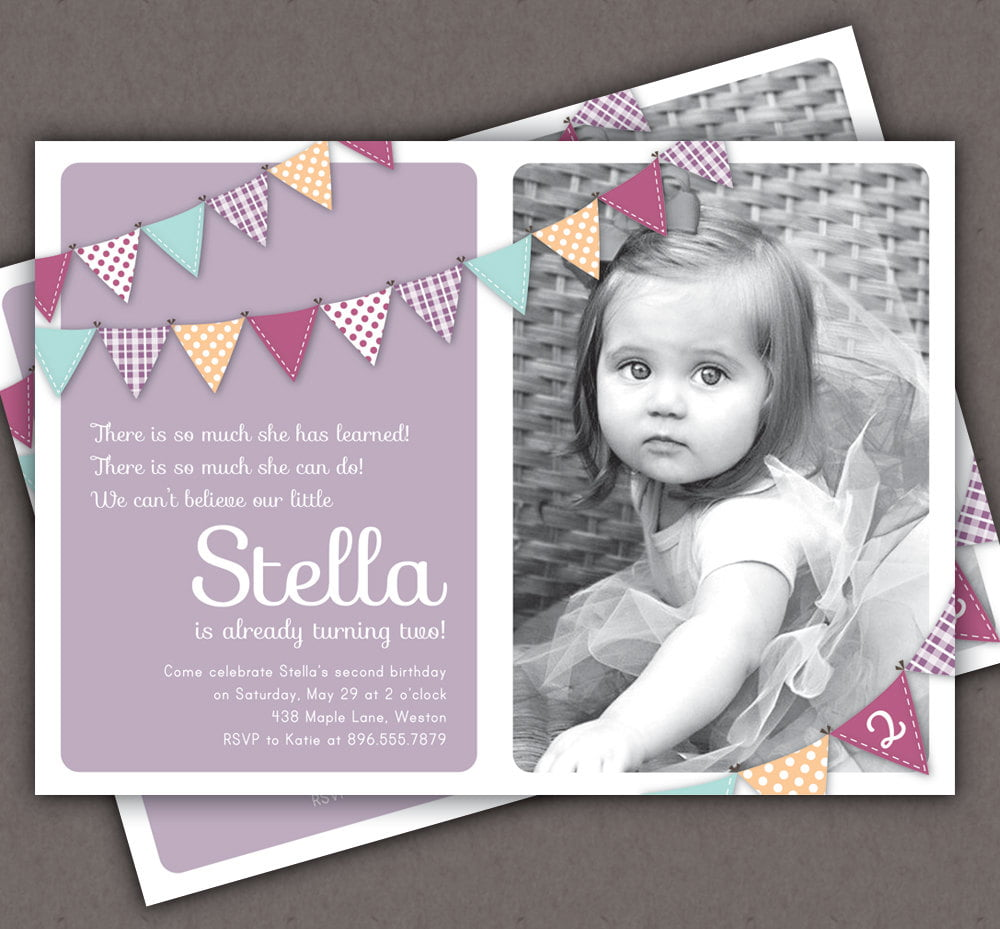 Black And White Two Years Old Birthday Invitations Wording