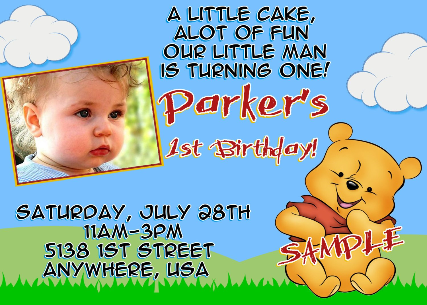 boy winnie the pooh photo birthday invitations