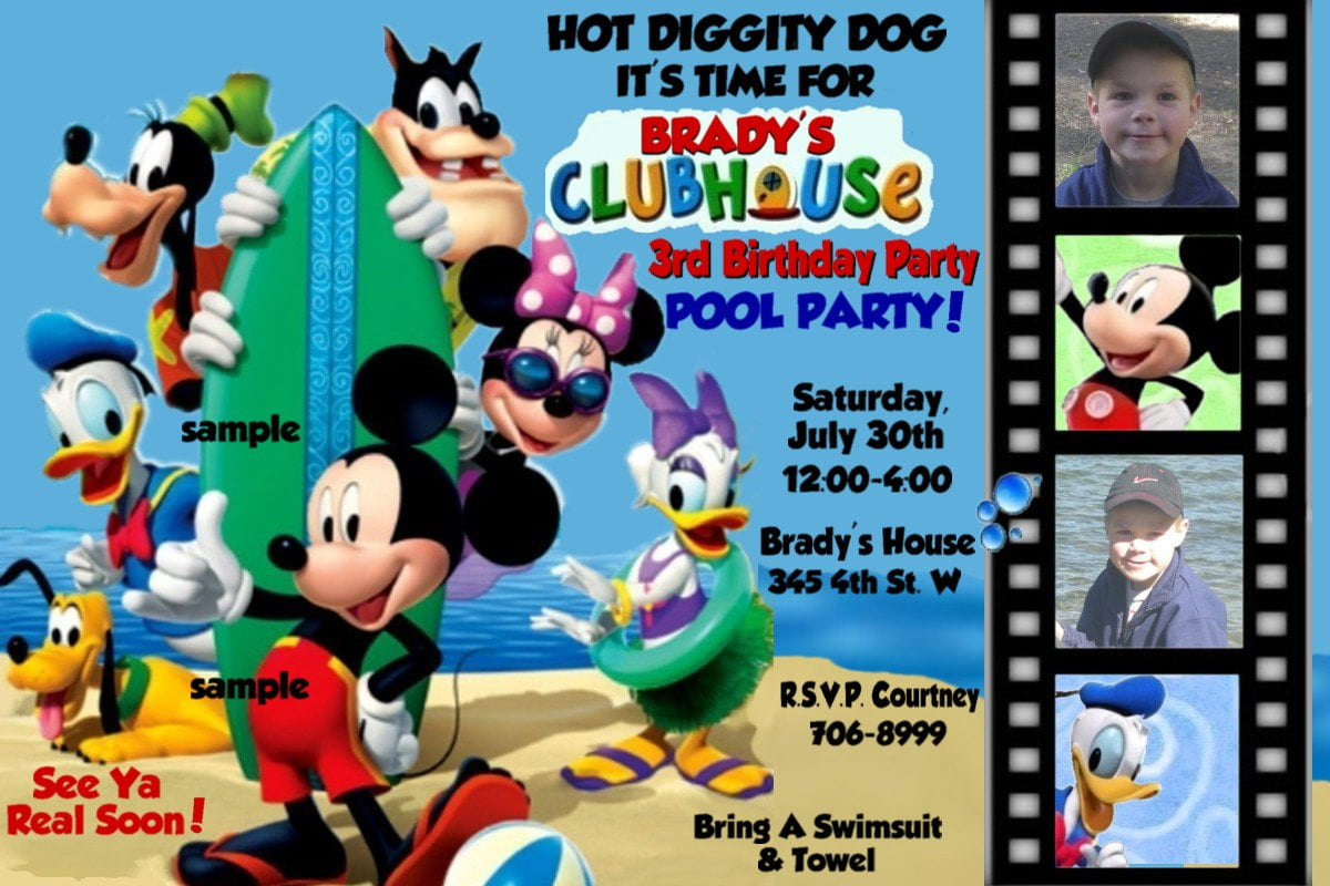 mickey mouse clubhouse photo birthday invitations drevio fun mickey mouse clubhouse birthday party invitations