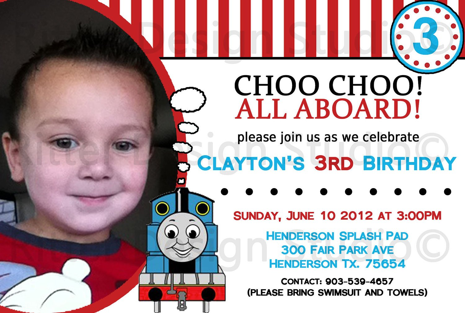 Thomas the Train Photo Birthday Invitations Template Ideas – Thomas the Train Birthday Invites