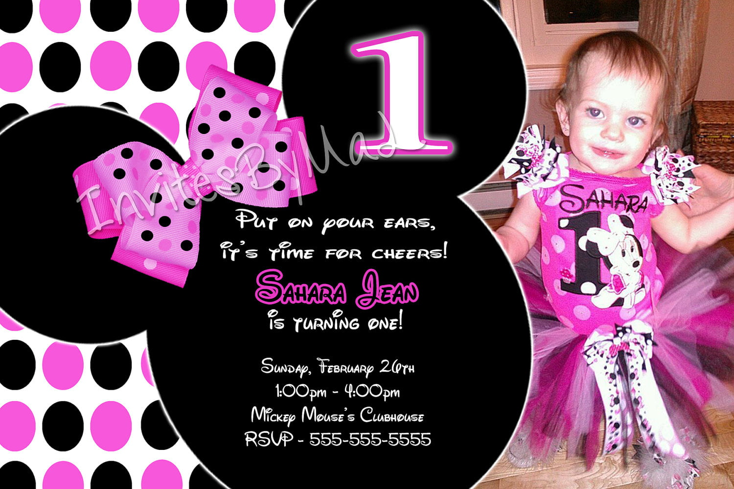 Ears Minnie Mouse Invitations 1st Birthday