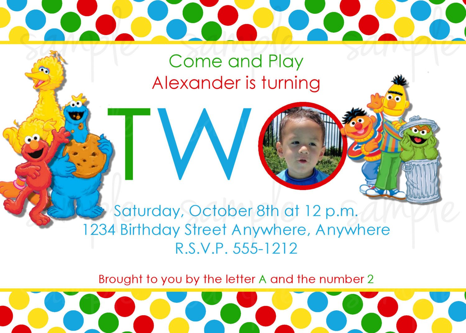 big bird custom sesame street birthday invitations