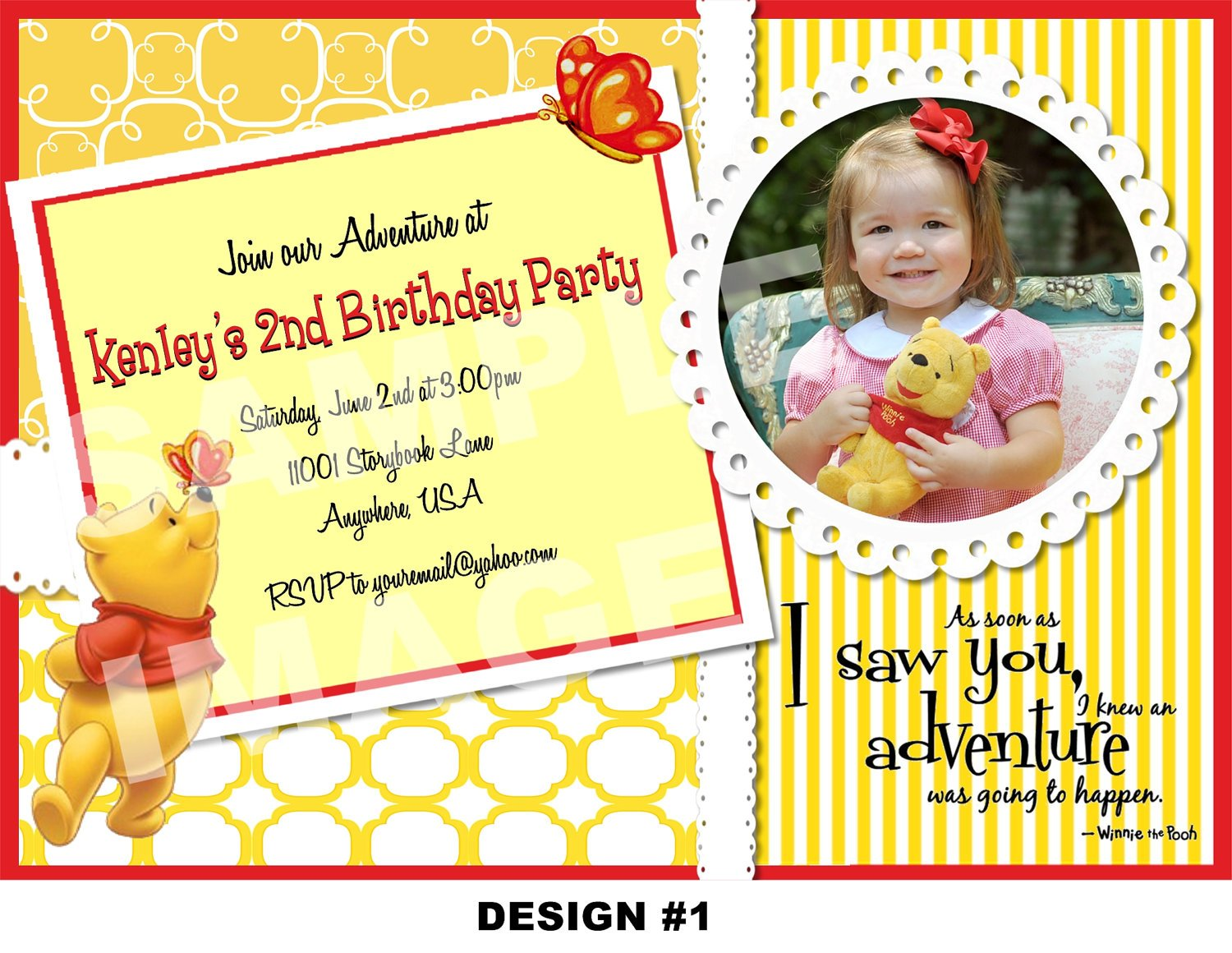 girl winnie the pooh photo birthday invitations