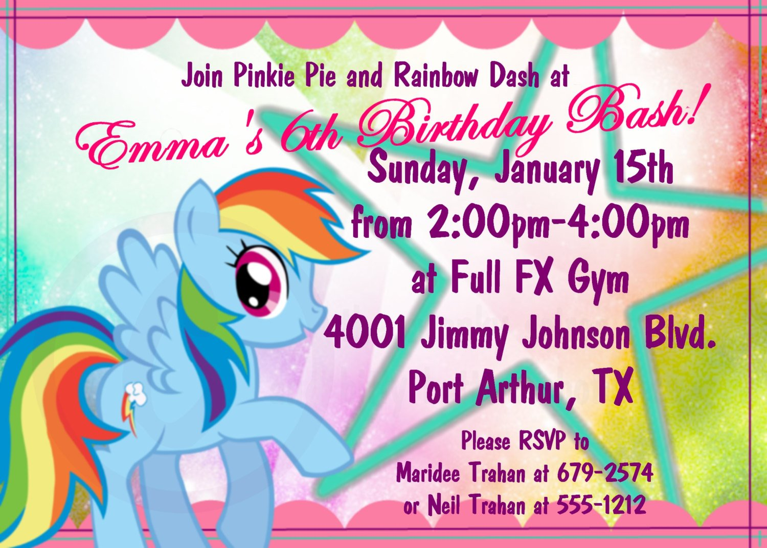 Rainbow Dash My Little Pony Birthday Invitations Printable