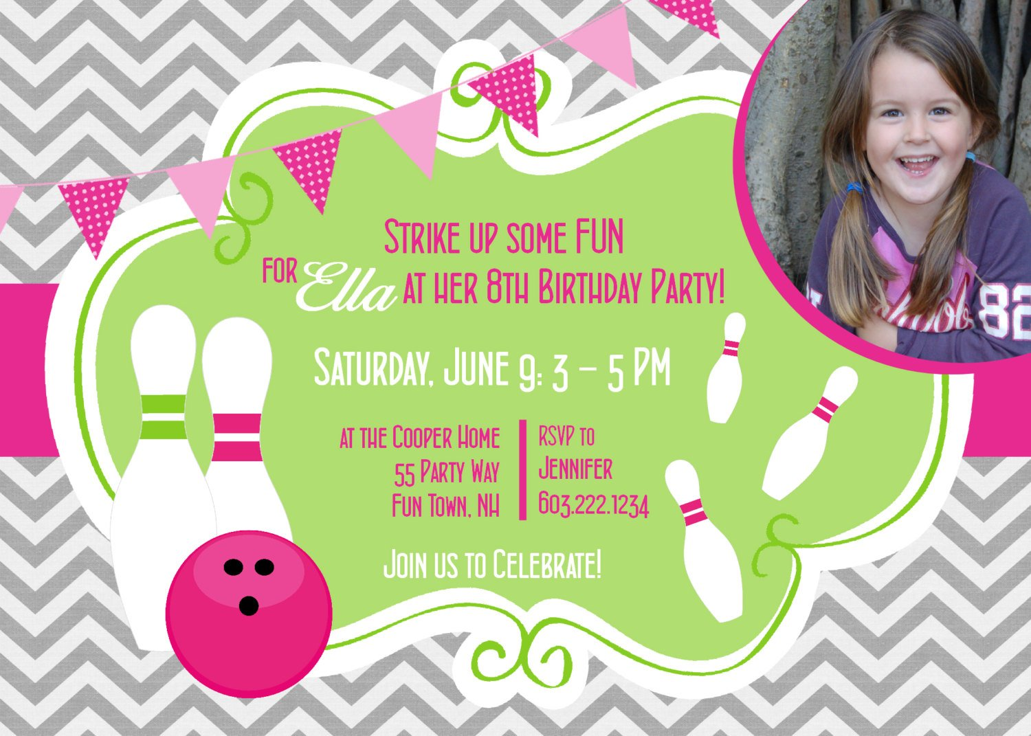 Free Bowling Birthday Party Invitations - Template Downloadable ...