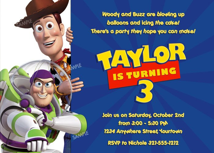 buzz lightyear personalized toy story birthday invitations