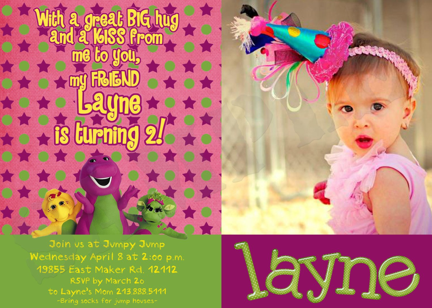barney print birthday invitations at home