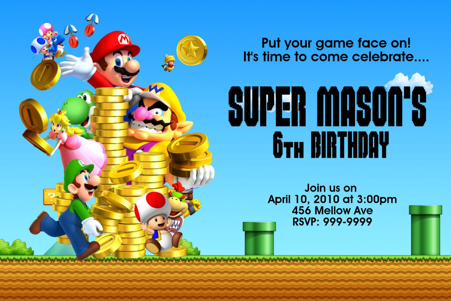 FREE Printable Super Mario Birthday Party Invitations ...