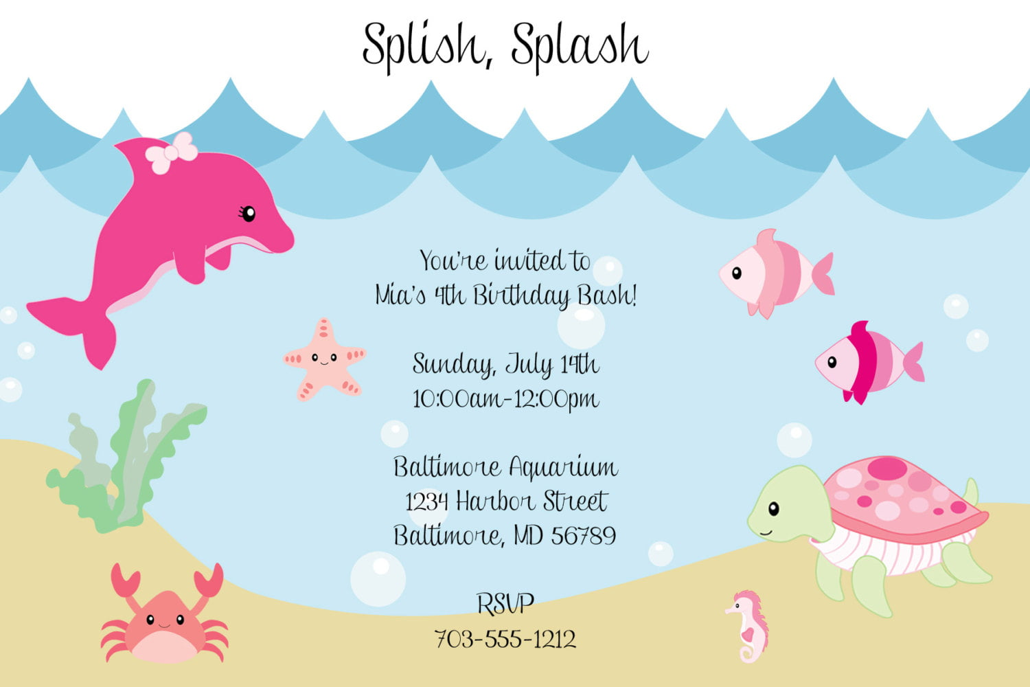 whale under the sea birthday party invitations