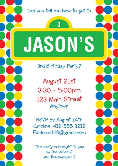 polka dots custom sesame street birthday invitations