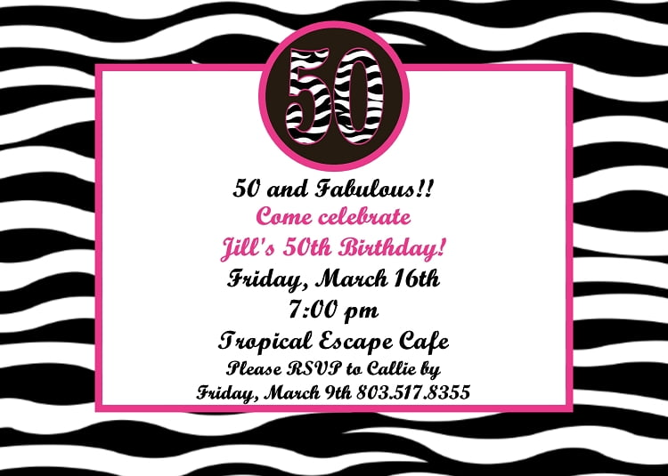 Zebra Invitations For 50th Birthday Party