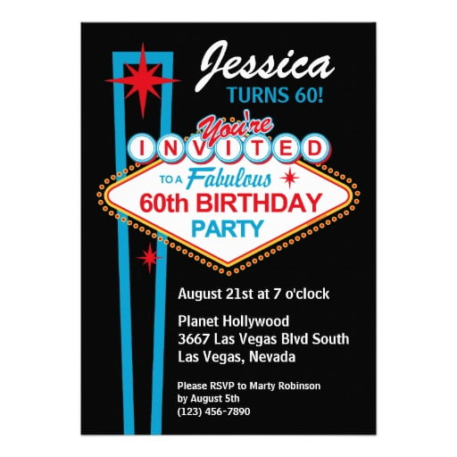 Vegas 60th Birthday Party Invitations Ideas
