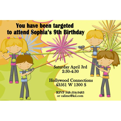 image relating to Laser Tag Birthday Invitations Free Printable identified as Laser Tag Birthday Invites No cost - Cost-free Invitation
