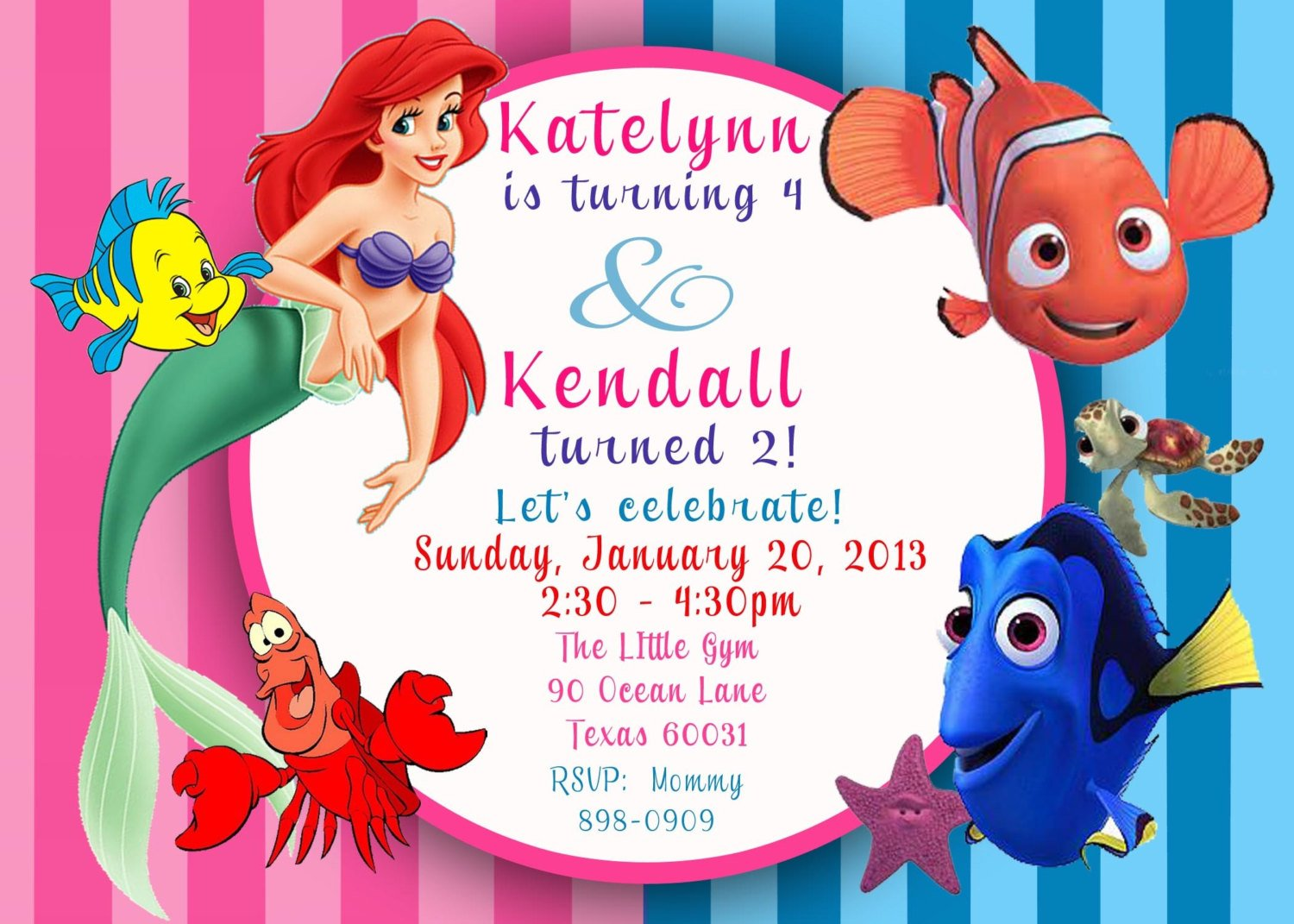 cartoon little mermaid printable birthday invitations - Little Mermaid Party Invitations