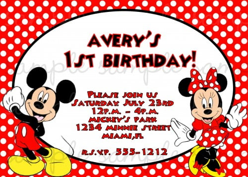 polka dots mickey and minnie twin birthday invitations