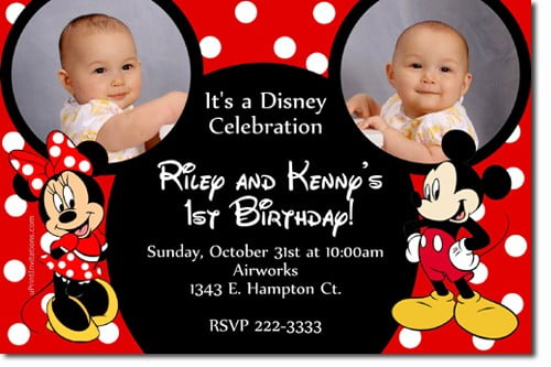 red mickey and minnie twin birthday invitations