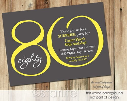 yellow black free printable 80th birthday invitations