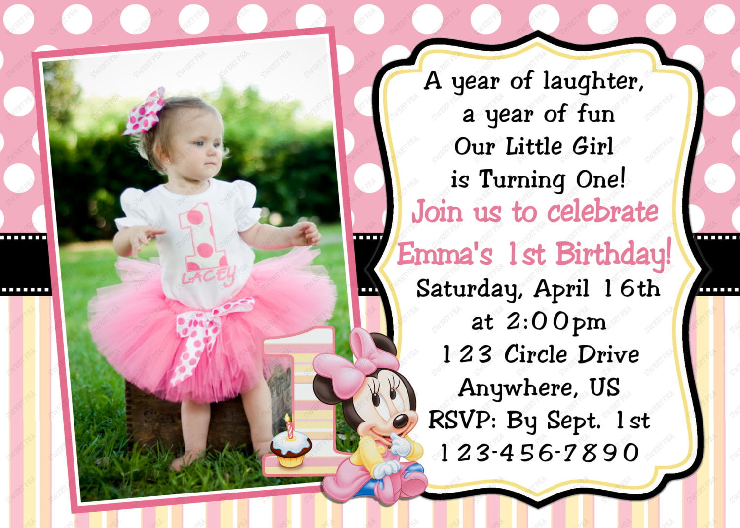Girls Minnie Mouse 1st Birthday Invitations