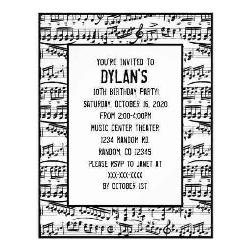 music melodies themed birthday party invitations