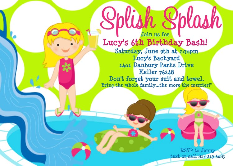Free Printable Birthday Pool Party Invitations – Pool Party Invite Template