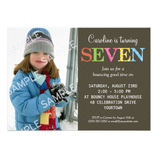 Girls 7 Years Old Birthday Party Invitations