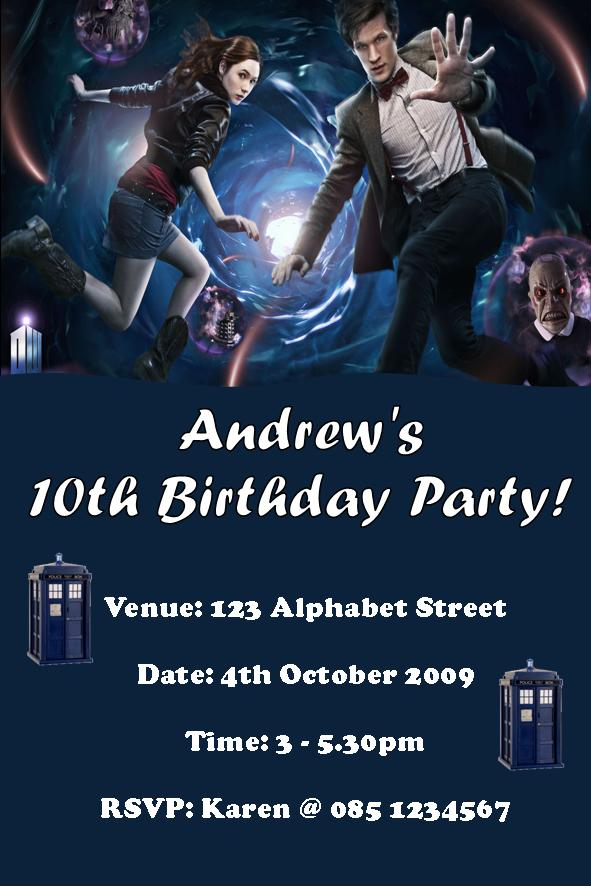 doctor who cast birthday party invitations