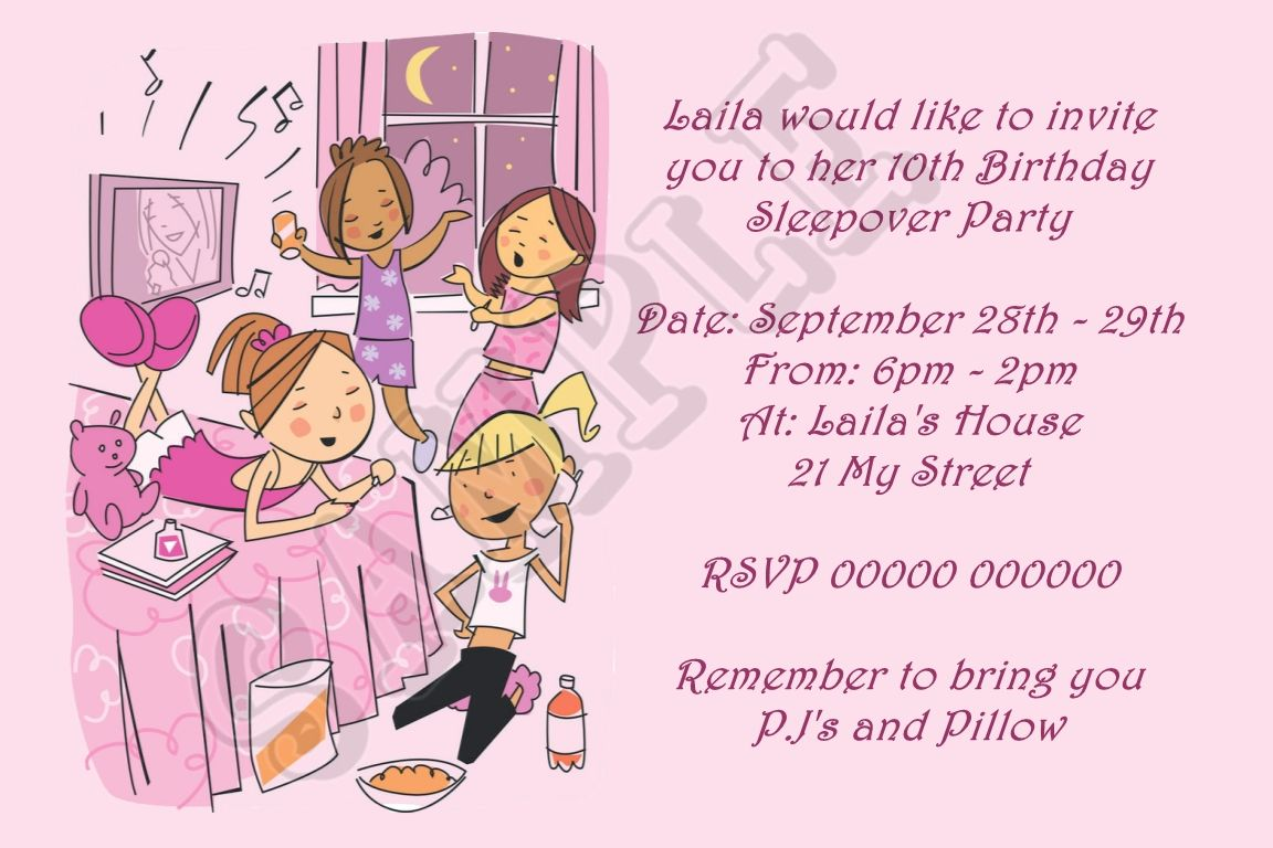Free Printable Slumber Party Birthday Invitations | Drevio ...