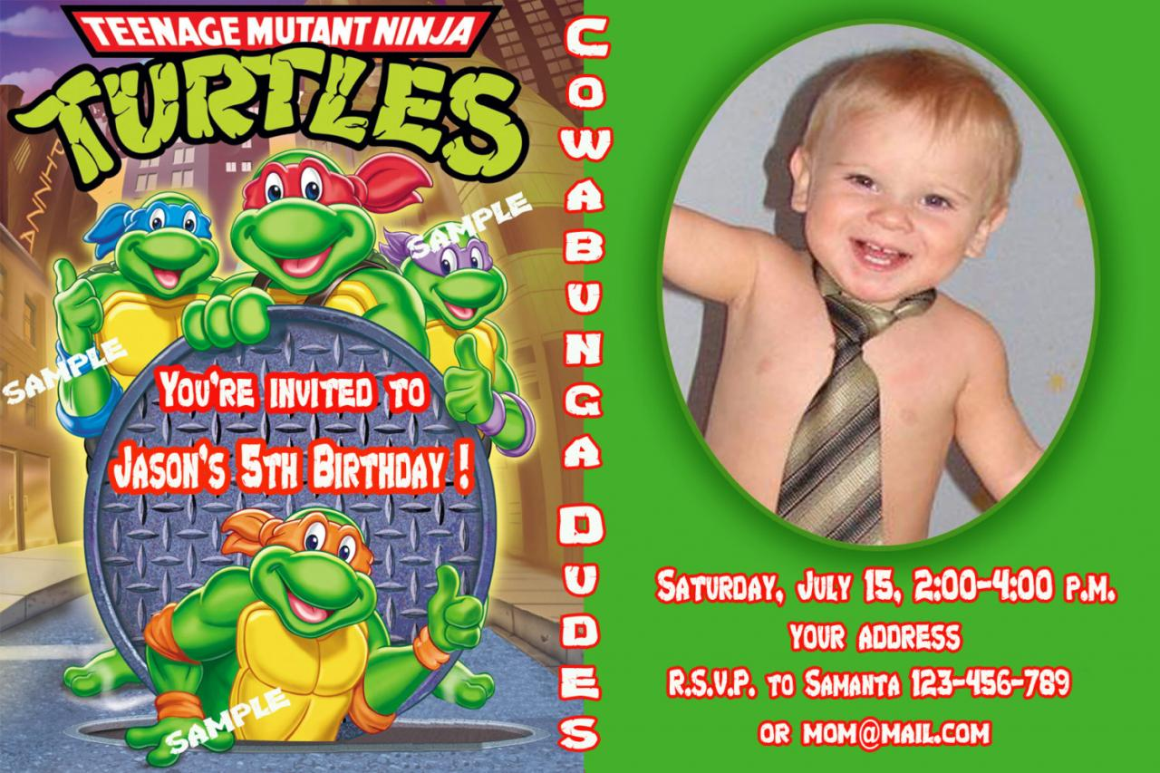 FREE Printable Teenage Mutant Ninja Turtles Birthday Invitation Free