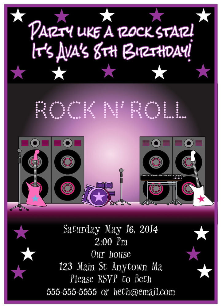 FREE Printable Rock Star Birthday Party Invitations Template | FREE ...
