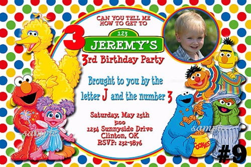 elmo custom sesame street birthday invitations