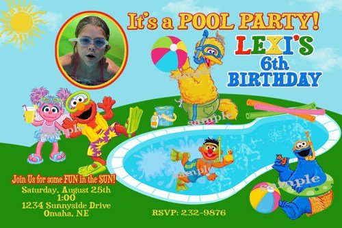 Pool Free Printable Sesame Street Birthday Invitations