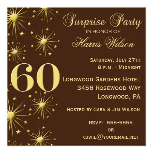Sparkling Surprise 60th Birthday Party Invitations Wording
